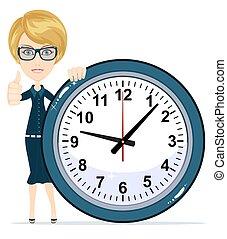 vacker, kvinnlig, clock.