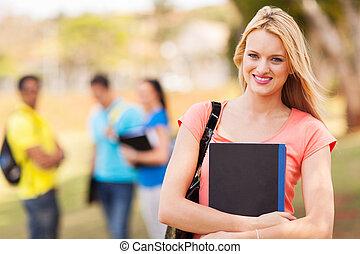 vacker, kvinnlig, högskola studerande