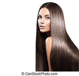 vacker, länge, hair., skönhet, kvinna, med, rak, svart hår, isolerat, vita