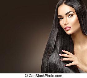vacker, länge, hair., skönhet, modell, flicka, rörande, hälsosam, hår