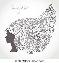 vacker, länge, silhouette., hår, curls., blond, invecklad, ...