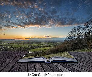 vacker, landskap, avbild, av, solnedgång, över, bygd,...