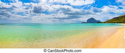 vacker, landskap., strand., panorama., tropisk, sandig