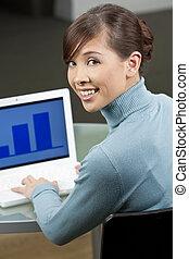 vacker, laptop, styrelse, dator, asiatisk kvinna, användande