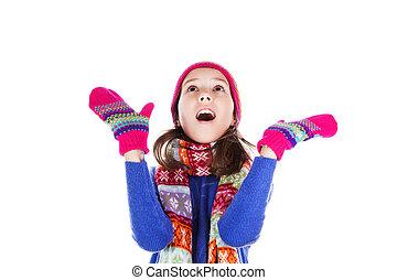 vacker, liten flicka, in, mössa, och, scarf