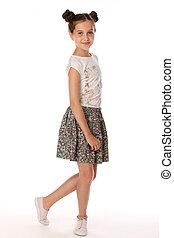 vacker, litet, brunett, gammal, år, 12, framställ, bar, flicka, ben, kjol
