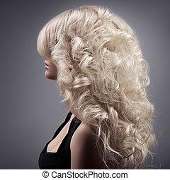 vacker, lockig, långt hår, blond, woman.