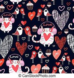 vacker, mönster, älskarna, katter, fåglar
