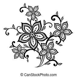 vacker, mönster, element, design, blommig, svart, vit