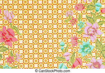 vacker, Malaysiska, konst,  batik, mönster