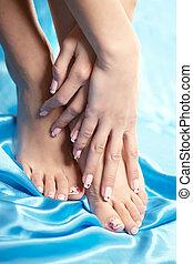 vacker, manikyrera, fötter, med, a, ordentlig, pedikyr