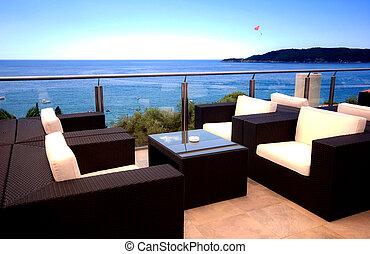 vacker, marinmålning, medelhavet, terrassera, synhåll