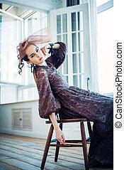 vacker, mode, foto, retro, årgång, stående, woman., style.