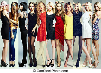 vacker, mode, grupp, collage., unga kvinnor
