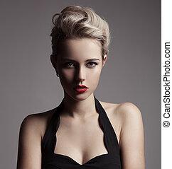 vacker, mode, image., retro, blondin, woman.