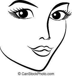 vacker, mode, kvinna, ansikte