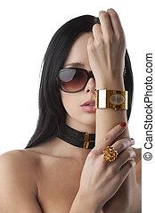 vacker, mode, kvinna, med, smycken