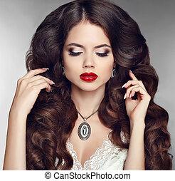 vacker, mode, läpp, sensuell, stående, flicka, röd