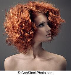 vacker, mode, lockig, portrait., hair., woman.