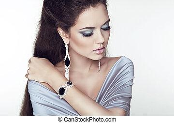 vacker, mode, smycken, skönhet, foto, accessories., brunett, kvinna, studio, make-up., professionell, flicka, portrait.