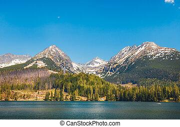 vacker, mountains, pleso, insjö, slovakien, tatra, strbske