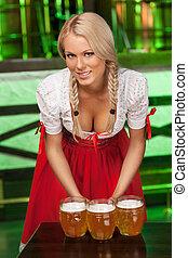 vacker, muggar, tysk, ung, traditionell, öl, kamera, dräkt, ...