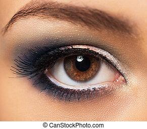 vacker, närbild, glamorös, smink, ögon