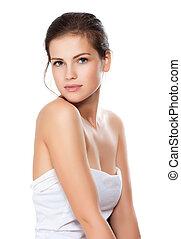 vacker, närbild, kvinna, hälsosam, ung, ansikte, ren, skinn,...