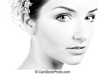 vacker, närbild, kvinna, svart, vit