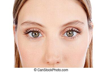 vacker, närbild, kvinna uppsyn