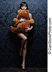 vacker, naken, flicka, är, holdingen, den, nallebjörn