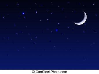 vacker, natt himmel, stjärnor, måne