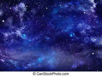 vacker, nightly, bakgrund, sky