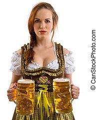 vacker, oktoberfest, öl, tjänande, servare