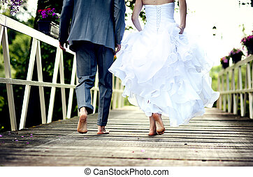 vacker, par, bröllop