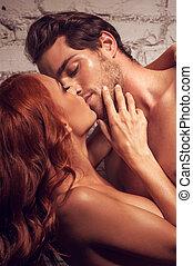 vacker, par, ha, sex., kyssande, varandra, existens, naken