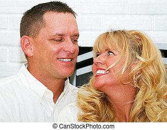 vacker, par, skratta, tillsammans