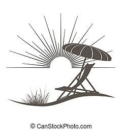 vacker, parasoll, illustration, hav, stol, strand, synhåll