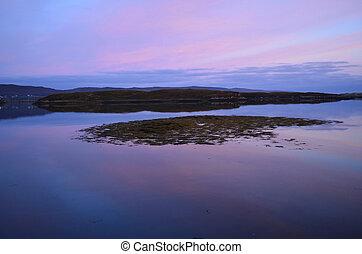vacker, pastell, fridfull,  över,  Dunvegan, sjö,  Skies