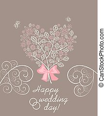 vacker, pastell, rosa, hjärta, blomstrande, träd, hälsning, form, dekorativ, bröllop, lacy, blomningen, kort