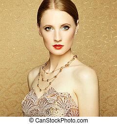 vacker, perfekt, face., kvinna, smink
