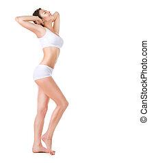 vacker, perfekt, fyllda, body., längd, stående, woman.
