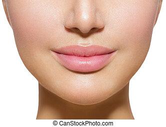 vacker, perfekt, lips., sexig, mun, närbild, över, vit