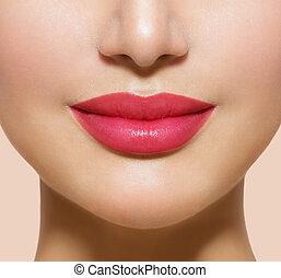 vacker, perfekt, lips., sexig, mun, närbild