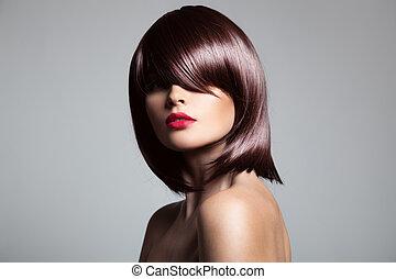 vacker, perfekt, närbild, brun, länge, glatt, hair., modell, potta