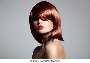 vacker, perfekt, närbild, hår, glatt, hair., modell, hamn, röd