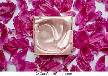 vacker, pion, boxas, petals, smycken, tom