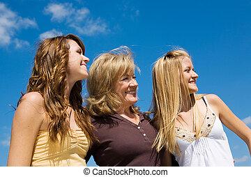vacker, profil, familj