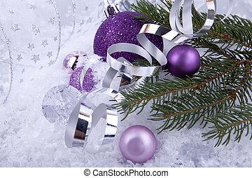 vacker, purpur, snö, jul utsmyckning, vit, silver
