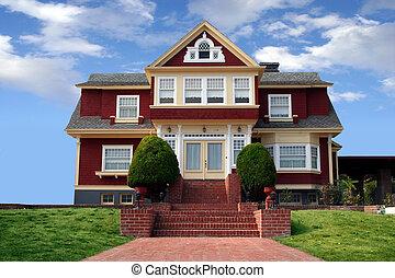 vacker, röd, hus